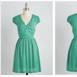 Teal Green Polka Dot Dress